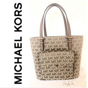 NWT authentic MK monogram tote brown